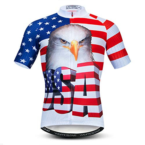Men's Cycling Jersey Short Sleeve Full Zip MTB Breathable Bike Biking Shirt Top USA Blue Red Size L