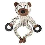 SOOKi Corduroy Durable Squeaky Dog Toys Pet Puppy Cat Stuffed Chew Toy Teething Cleaning Training Squeaker Play Chew Rope Toys Teether - White