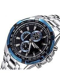 BUYEONLINE Men's Fashion Water Resistant Calendar Date Stainless Steel White Strap Casual Sport Quartz Watch Blue & Black