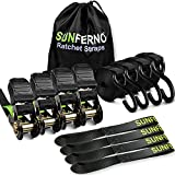 Sunferno Ratchet Straps Tie Down 2500Lbs Break Strength, 15 Foot - Heavy Duty Straps To Safely Move Your Motorcycle and Cargo - Includes 4 Pack Soft Loop Straps - Black (4 Pack)