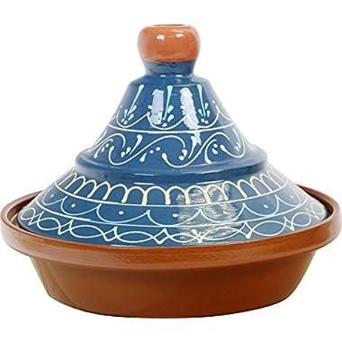 Reston Lloyd Eurita Terra Cotta Tagine 91908 Palma Pattern, 2 quart, Blue