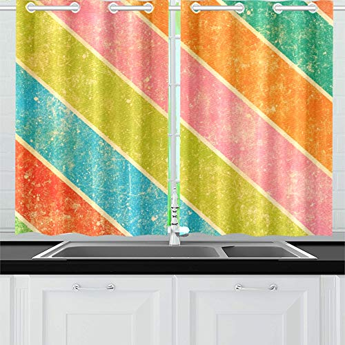YUMOING Grunge Stripes Kitchen Curtains Window Curtain Tiers for Café, Bath, Laundry, Living Room Bedroom 26 X 39 Inch 2 Pieces ()