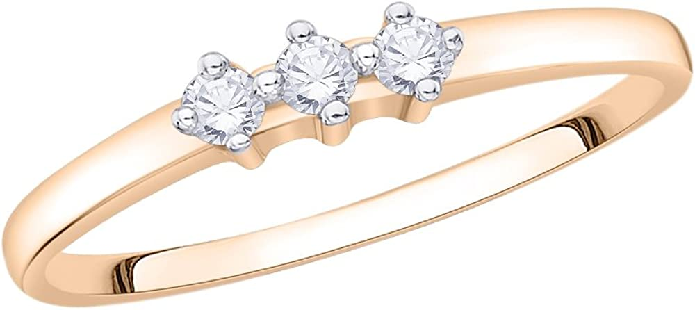 3 Diamond Promise Ring in 14K Pink Gold Size-5.5 1//10 cttw, G-H,I2-I3