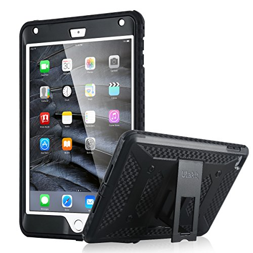 ULAK iPad Mini 4 Case with Screen Protector, Mini iPad 4 Case Heave Duty Full-Body Hybrid Rugged Protective Cases with Kickstand Front Cover Bumpers for iPad Mini 4 2015, Black