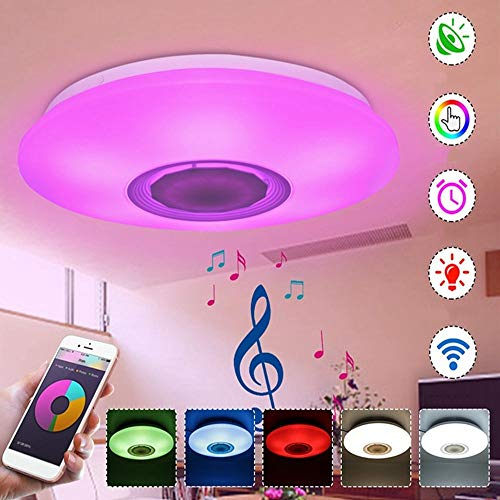 Dimmbar 48W bluetooth Lautsprecher LED Deckenleuchte Deckenlampe APP alexa goole