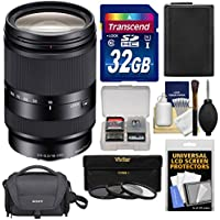 Sony Alpha E-Mount E 18-200mm f/3.5-6.3 LE OSS Zoom Lens with Sony Case + 32GB Card + 3 Filters + NP-FW50 Battery Kit for A7, A7R, A7S Mark II, A5100, A6000, A6300 Cameras