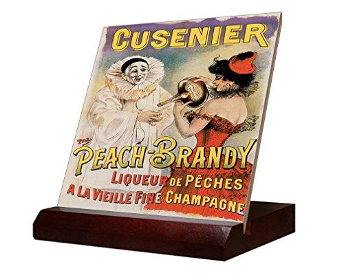 Peach Brandy Vintage Picture Ceramic Tile & Stand 4