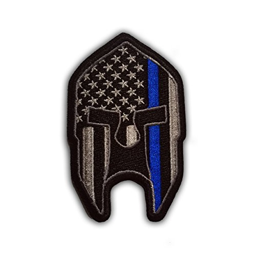 Subdued-Thin-Blue-Line-American-Flag-Spartan-Helmet-Patch