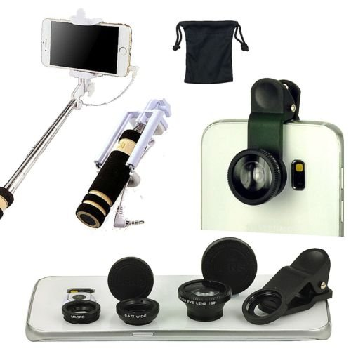 180° Fish Eye+Wide+Angle+Macro Camera Lens Monopod Accessory Kit For LG V10