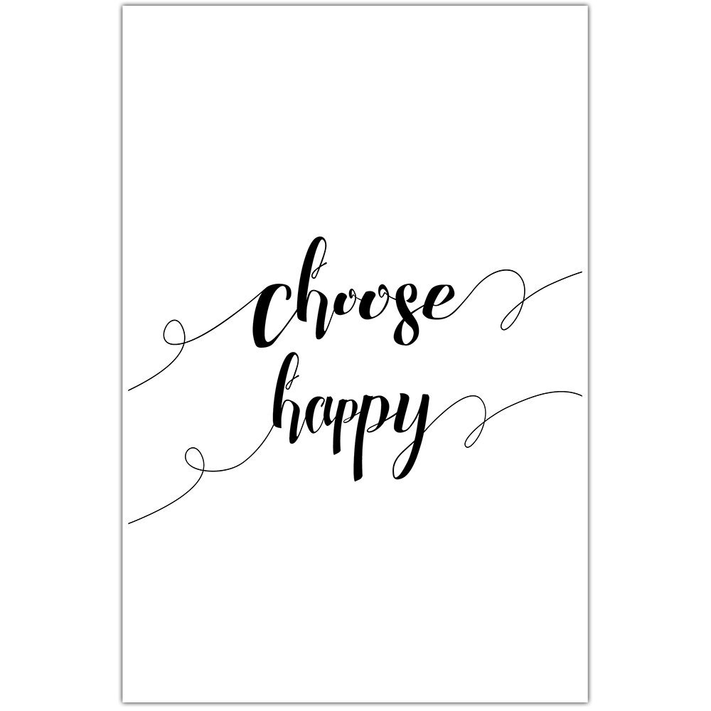 Choose Happy Simple Motivational Wall Art