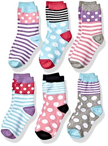 Jefferies Socks Girls Little Dots/Stripes Fashion Cotton Crew 6 Pair Pack