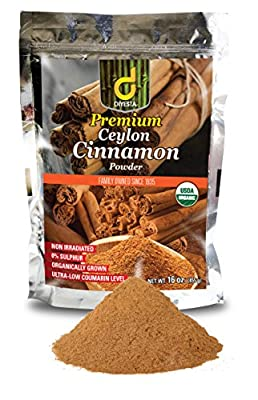Organic Ceylon Cinnamon Powder - Family Owned Since 1935 - 1 Lb. in a Handy Re-sealable Pouch from Diyesta