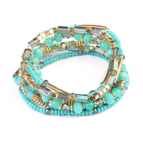 RIAH FASHION Bohemian Multi-Layer Sparkly Crystal Bead Charm Bracelet - Stretch Strand Stackable Bangle Set Tassel/Coin/Acrylic Druzy/Lava Diffuser Crescent (Turquoise)