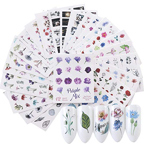 iFancer Nail Stickers Water Transfer Nail Art Decals for Women Girl Fingernail Toenail Tattoo Decoration Blossom Flower Flamingo Red Rose Pattern Nail Art Supplies (Watercolor Flowers Series) ()