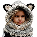 Pershoo Winter Knitting Warm Cap Hat,Toddlers Cool Baby Kids Woolen Coif Hood Scarf Beanie,Fleece Full Face Head and Neck Cover Warmer Windproof Fall Peaked Knitted Hat - Grey
