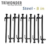 Triwonder 10 Pack Burly Steel Tent Stakes Solid Stakes Footprint Casting Pegs (Black - 8in)