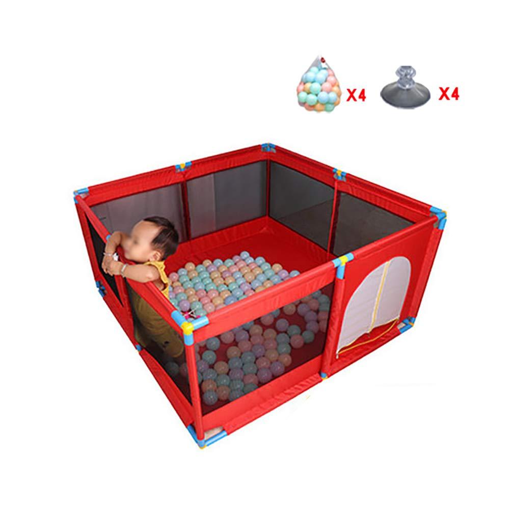 赤ちゃんの囲い 赤い赤ちゃんの遊び場200ボール、子供の遊び場折り畳み式のゲーム場オックスフォード布の赤ちゃんの遊び場   B07K7KVNJ9