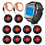 CallToU Wireless Wrist Pager Smart Call System Caregiver Pager, Nurse Calling Alert Elderly/Patient/Disable at Home 1 PC Receiver Alert Pager 10 PCS Fixed Mounted/Portable Call Buttons 500+Feet