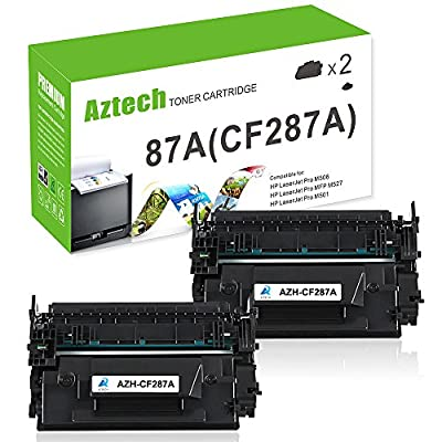 AZTECH 2 Packs 9,000 Page Yield Black 87A CF287A Toner Cartridge Replacement for Laserjet Enterprise M506N M506X M506Dn M506, Laserjet MFP M527Dn M527Z M527F, Laserjet Pro M501Dn M501N Printer Ink