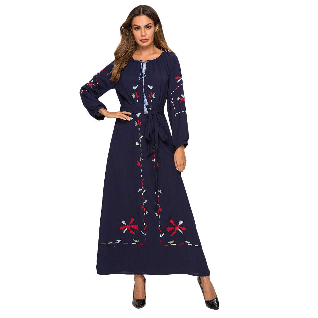 Womens Muslim Bat's-Wing-Sleeves Dress Hijab Two in One, Muslim Dress for Women Kaftan Long Sleeve Casual Maxi Dress Dubai Muslim Abaya Long Gown Long Dress by Yuege Dress