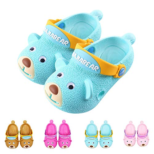 (Toddler Summer Sandals Anti-Slip Sport Slide for Boys and Girls Indoor Outdoor Beach Water Clogs Shoes Bath Pool Slippers (Toddler 4.5-5 M, Sky Blue) )