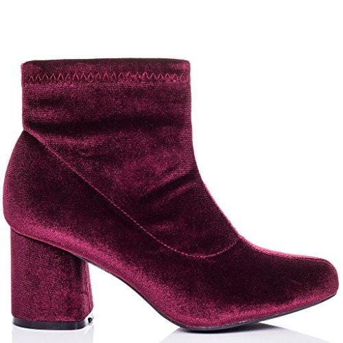 Tacón Mujer Bloque Sintética Zapatos Botes PALATIAL Terciopelo Rojo SPYLOVEBUY Bajas 6Tw5EAqg