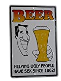 K's Novelties Beer Helping Ugly People Have Sex 8''x12'' Aluminum Metal Wall Decor Sign