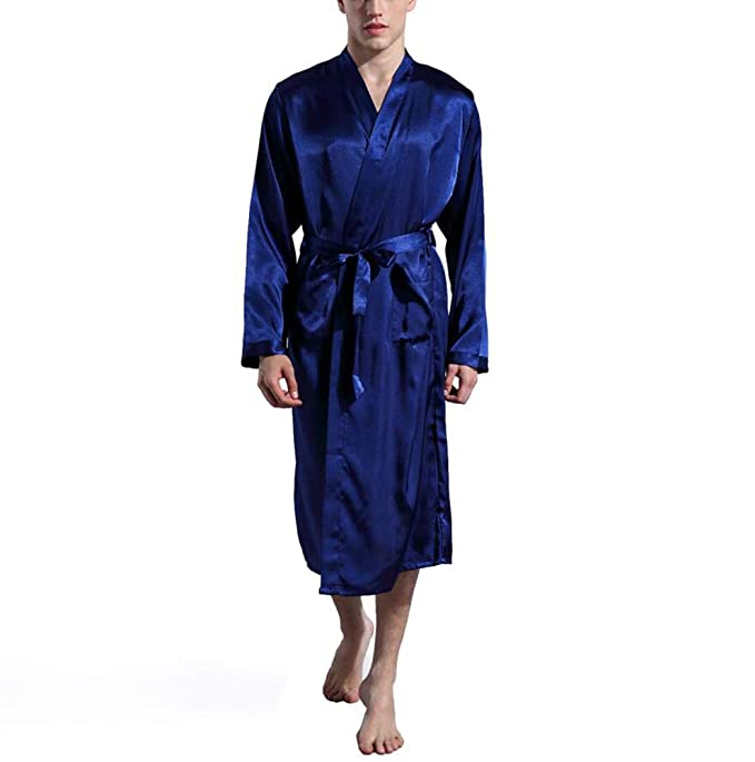 Famesale Cárdigan de Seda de Color Sólido de Los Hombres Robe Suelto de Manga Larga Pijama