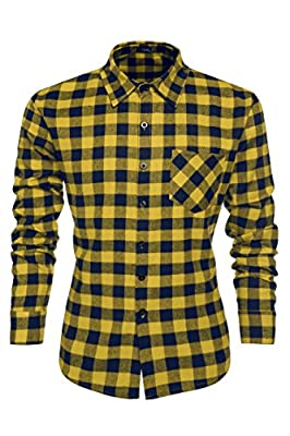 Jingjing1 Mens Plaid Shirts, Fashion Casual Cotton Turn Down Collar Button Down Slim Fit Top