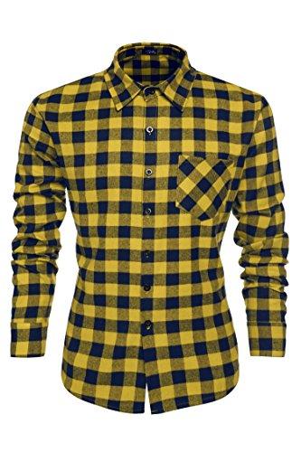 [해외]남성 캐주얼 셔츠, 캐주얼 코튼 턴 다운 슬림 피트 탑 아래로 옷깃/Mens Plaid Shirts, Fashion Casual Cotton Turn Down Collar Button Down Slim Fit Top