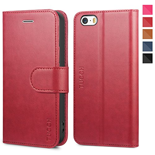 TUCCH iPhone SE Wallet Case, iPhone 5s Case, Premium PU Leather Flip Case Card Slot, Stand Holder Magnetic Closure [TPU Shockproof Interior Protective Case] Compatible iPhone SE / 5s / 5, Red