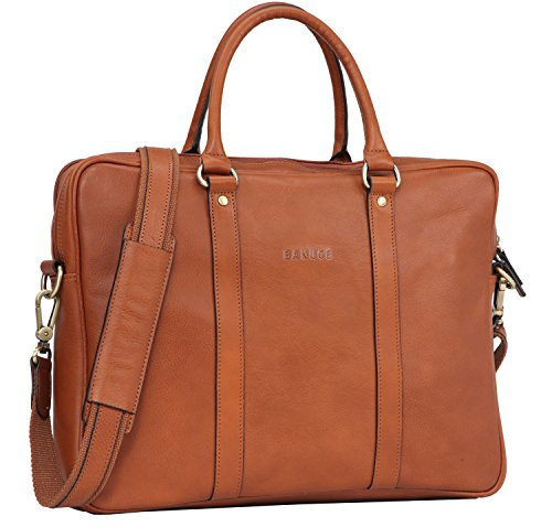 Banuce Italian Leather Slim Briefcase Tote/Shoudler Laptop C...
