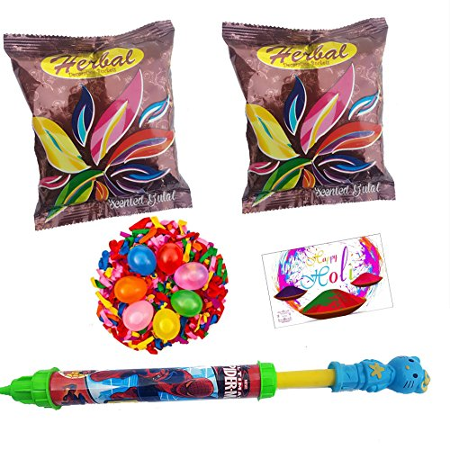 DECORATIVE BUCKETS Spiderman Water Gun, Herbal Holi Colors 2 and Balloons (Combo of 5)