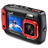 Ivation 20MP Underwater Waterproof Shockproof Digital Camera & Video Camera w/Dual Full-Color LCD Displays - Fully Submersible Up to 10 Feet (Red)