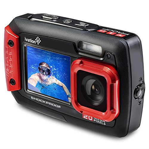 Ivation 20MP Underwater Waterproof Shockproof Digital Camera & Video Camera w/Dual Full-Color LCD Displays – Fully Submersible Up to 10 Feet (Red)