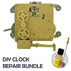 Qwirly 2 Item Bundle: Hermle 1050-020 Triple Chime Mantel Clock Movement with Bronze Bushings & NYE Synthetic Clock Oil 15ml for Clock Repair or Replacement