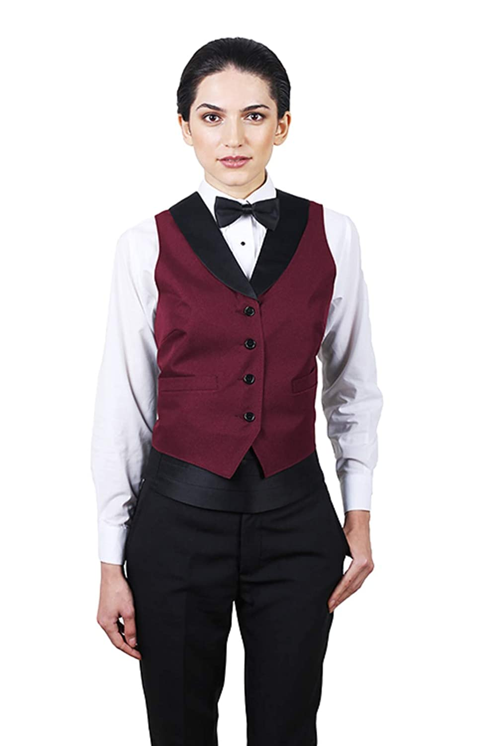 654a1157bc2 SixStarUniforms Women's Full Back Tuxedo Vest with Black Lapel at Amazon  Women's Clothing store: