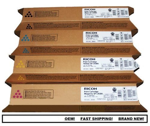 Lanier Copier Toner (Ricoh AFICIO SP C430A C430DN High Yield Toner Bundle Set 821105, 821106, 821107, 821108, BCYM Sealed In Retail Packagin)
