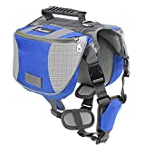 Pawaboo Dog Backpack, Pet Adjustable Saddle Bag Harness Carrier, for Traveling Hiking Camping, Suitable for 39 lb - 60 lb Pet, Blue & Gray