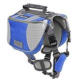 Pawaboo Dog Backpack, Pet Adjustable Saddle Bag Harness Carrier, for Traveling Hiking Camping, Medium Size, Blue & Gray