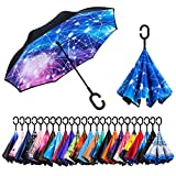 Newsight Reverse/Inverted Double-Layer Waterproof Straight Umbrella, Self-Standing & C-Shape Handle & Carrying Bag for Free Hands, Inside-Out Folding for Car Use (Constellation)