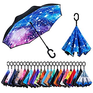 Newsight Reverse/Inverted Double-Layer Waterproof Straight Umbrellas, Self-Standing & C-Shape Handle & Carrying Bag for Free Hands, Inside-Out Folding for Car Users (Blue)