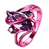 "RongXing Jewelry 2016 New Amethyst Diamond Ring,14KT Gold Red ""S"" Rings"