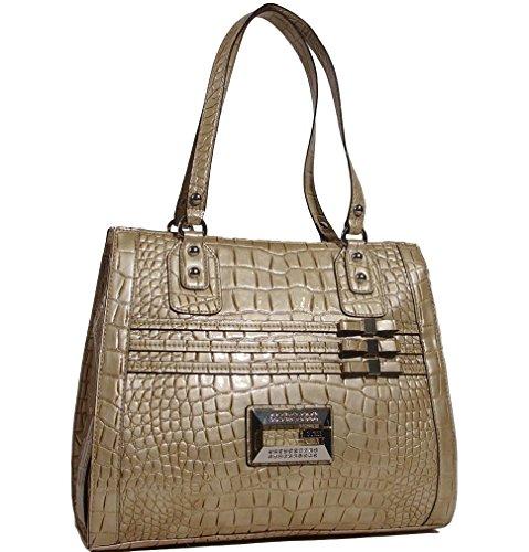 Guess Sami Croco-Embossed Large Tote Bag Handbag, Stone