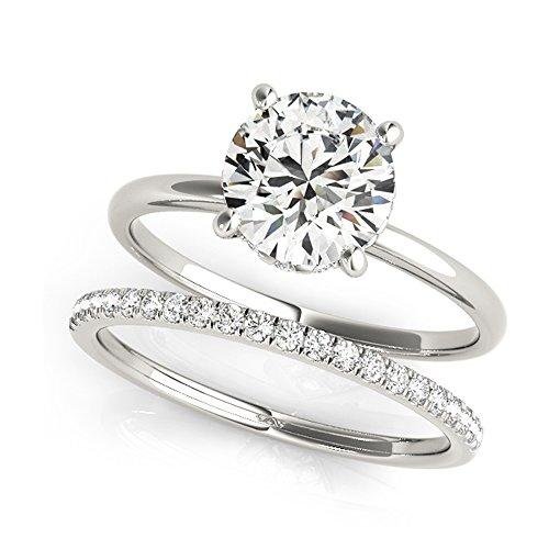 14K White Gold Unique Wedding Diamond Bridal Set Style MT50975