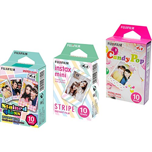 Instant Film 3 Pack Bundle (30 Sheets) with Stained Glass, Candy Pop & Stripe Instant Film ()