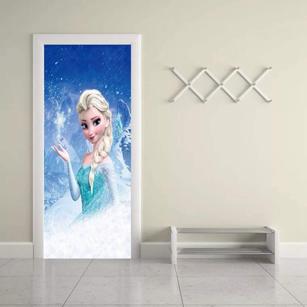 ZLCOM Princesse Elsa Porte Stickers Dessin Anim/é D/écor /À La Maison pour Les Filles Chambre Imperm/éable DIY Renouveler Papiers Peints Auto-Adh/ésif 77x200 cm