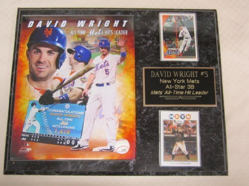 (Mets David Wright ALL TIME HIT LEADER 2 Card Collector Plaque w/8x10 Photo)