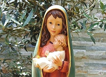 Bonito Ölbaum - Virgen María pintadas a mano, madre de Dios con niño en blanco gewande, Marie Figura con vestido rojo y corto, leuchtend abrigo azul como ...