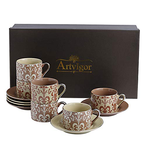 ARTVIGOR Set for Coffee and Tea, Set of 6 Two-color 220ml/7.5oz Cup and Saucer Gift Boxed Royal Floral Decals, 44x14.5x25.5cm ()
